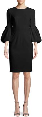Carolina Herrera Blouson-Sleeve Cocktail Sheath Dress
