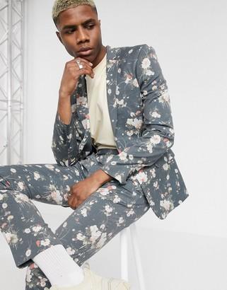 ASOS DESIGN skinny suit jacket in navy floral print
