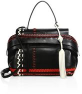 Tod's Wave Small Multicolor Whipstitched Leather Satchel