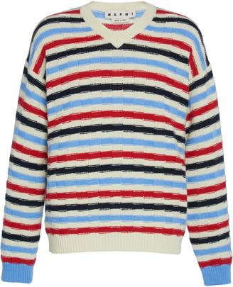 Marni V-Neck Striped Sweater