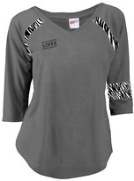 Soffe Gunmetal Zebra Jersey Burnout V-Neck Tee - Women