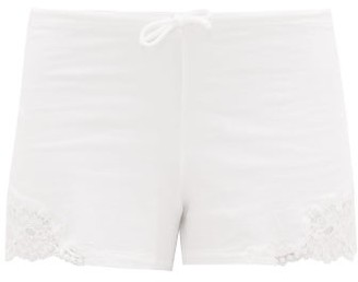 La Perla Lace-trimmed Cotton-blend Jersey Pyjama Shorts - Womens - White