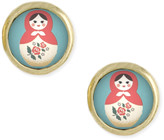 Zad ZAD Women's Earrings - Pink & Goldtone Russian Doll Stud Earrings