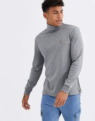 Polo Ralph Lauren pima cotton roll neck multi player logo long sleeve top in dark grey marl