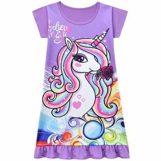 Thombase Girls Nightdress Nighties Unicorn Rainbow Fairy Short Sleeve Nightgown for Kids Gift (red 5-6 Years)