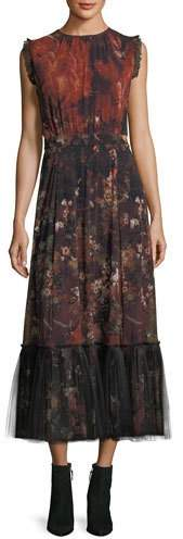 Fuzzi Sleeveless Winter Rust Floral Maxi Dress