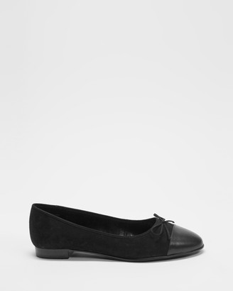 Atmos & Here Atmos&Here - Women's Black Ballet Flats - Angelina Leather Ballet Flats - Size 5 at The Iconic