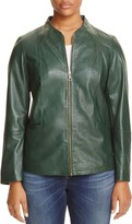 Marina Rinaldi Ebanista Funnel Neck Leather Jacket
