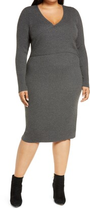 Leith Wrap It Up Long Sleeve Sweater Dress