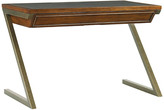 One Kings Lane Harborview Leather-Top Desk - Chocolate - frame, gold; frame, brown; top insert, chocolate/gold