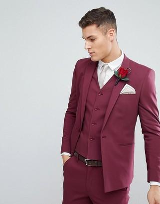 Asos Design ASOS Wedding Skinny Suit Jacket With Square Hem In Wine