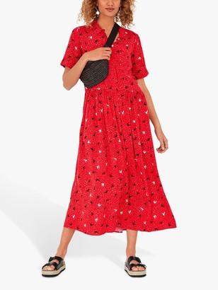 Hush Lianne Midi Dress, Birds/Hearts Red