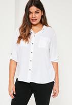 Missguided Plus Size White Pocket Detail Shirt