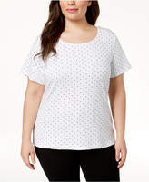 Karen Scott Plus Size Polka-Dot Top, Created for Macy's