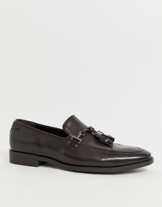 ASOS DESIGN loafers in brown faux leather with tassel