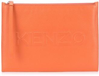 Kenzo Logo Embossed Zip Clutch