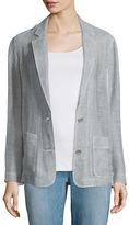 Eileen Fisher Notch-Collar Two-Button Linen Mesh Blazer
