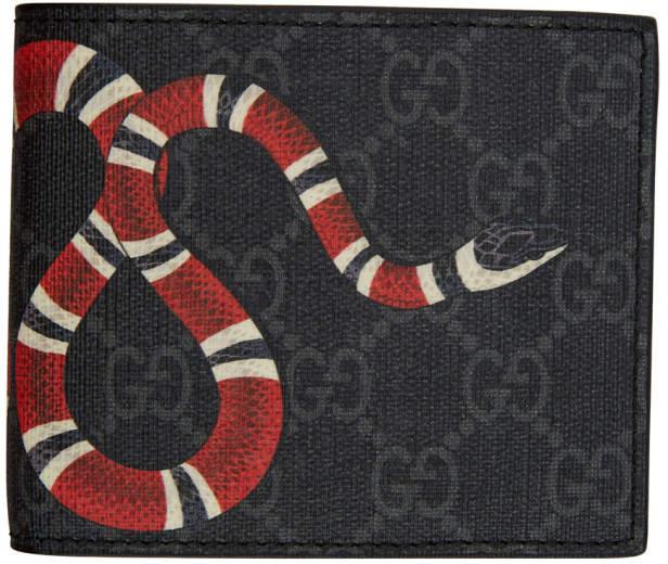 Gucci Black GG Supreme Kingsnake Wallet