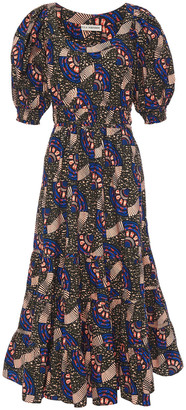 Ulla Johnson Nora Gathered Printed Cotton-poplin Midi Dress