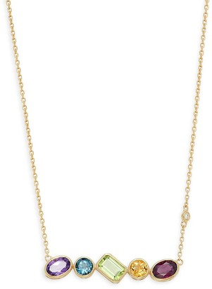 Effy 14K Yellow Gold & Multi Stone Geometric Necklace