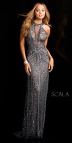 Scala Plunging Illusion Open Back Sequin Prom Dress