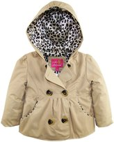 Pink Platinum Little Girls' Emma Leopard Lining Outerwear Raincoat Jacket