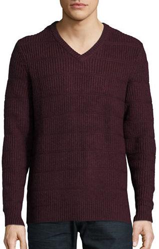Nautica Block-Rib V-Neck Sweater