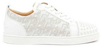 Christian Louboutin Louis Junior Spike Monogram Leather Trainers - Mens - White