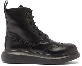 Alexander McQueen Chunky-sole Leather Brogue Boots - Black