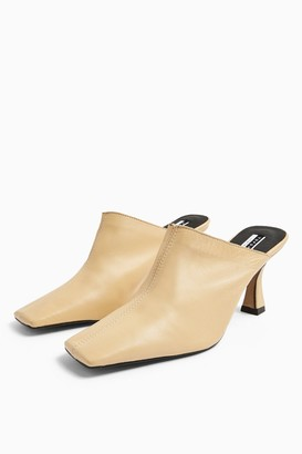 Topshop JOEL Leather Cream Square Close Mules
