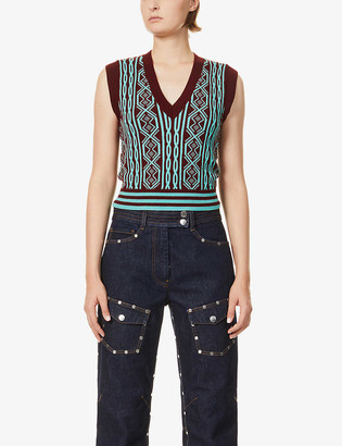 Dries Van Noten Cropped V-neck wool vest
