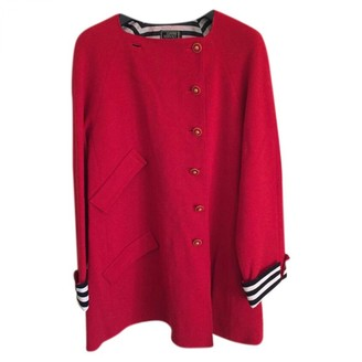 Gianni Versace Red Wool Coat for Women