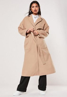 Missguided Camel Patch Pocket Maxi Belted Coat