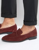 Asos Loafers in Burgundy Suede With Tassel