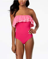 CoCo Reef Agate Ruffled Off-The-Shoulder Bra-Sized Allover Slimming One-Piece Swimsuit, Available in D Women's Swimsuit