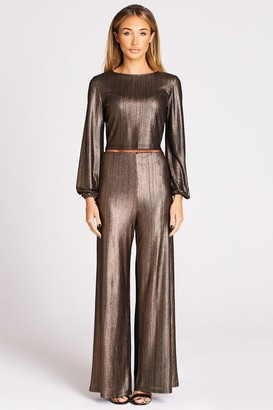 Girls On Film Outlet Studio Mouthy Metallic Copper Flare Trousers