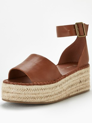 Very Danna Two Part Ankle Strap Wedge Sandals - Tan