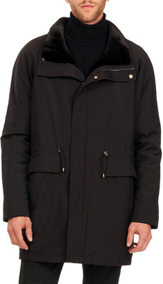 Gorski Men's Sheared Mink Fur Lined Horizontal Stroller Coat