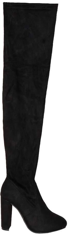 b0d45c61d19 Lolita Black Suede Thigh High Heeled Boots