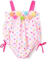 Newborn Infant Baby Girls One Piece Swimwear Navy Pink Dot