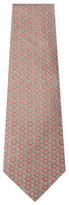 Vintage Green Geometric Silk Tie