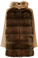 P.A.R.O.S.H. fur trim hooded coat - women - Mink Fur/Polyester/Wool/Marmot Fur - M