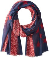 D&Y Women's Americana Floral and Stars Lightweight Scarf