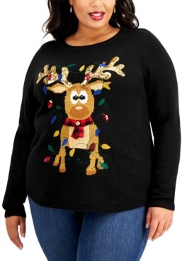 Karen Scott Plus Size Sequin-Embellished Reindeer Sweater, Created for Macy's