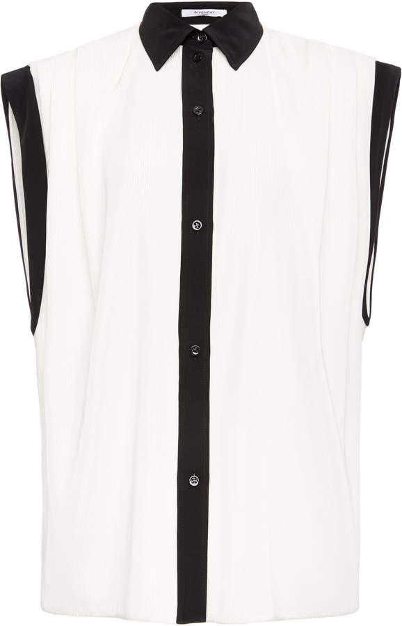 Givenchy Pleated Crepe de Chine Shirt