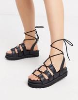 Public Desire Erika chunky tie up sandal in black