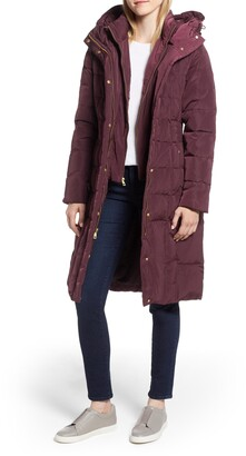 Cole Haan Puffy Down Zip Front Hooded Coat