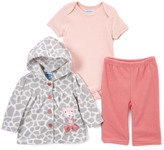 Bon Bebe Pink & Gray Giraffe Microfleece Jacket Set - Infant