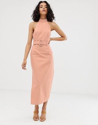 Asos Design DESIGN denim halter neck midi dress with belt
