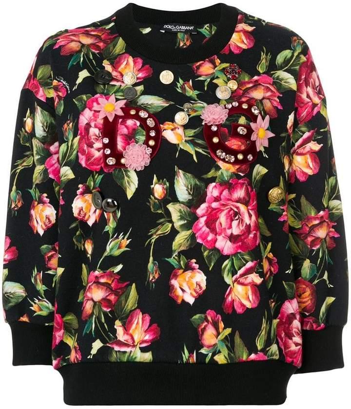 Dolce & Gabbana appliqué detail floral sweatshirt